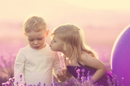 kids on lavender field at sunset, little girl kissing a boy photo