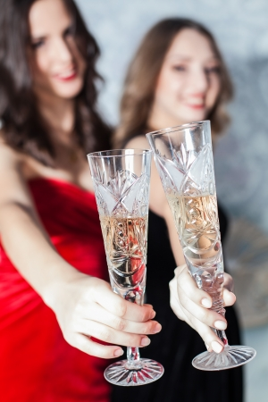 Portrait of elegant young womans with a champagne glasses at celebration Stock Photo - 23239554