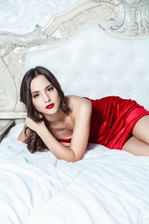 Fashion portrait of elegant young woman in a luxurious interior Stock Photo - 23239599
