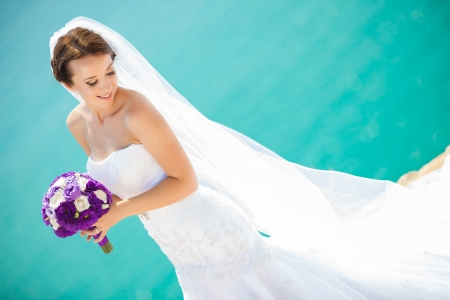 head dress: Beautiful bride outdoors