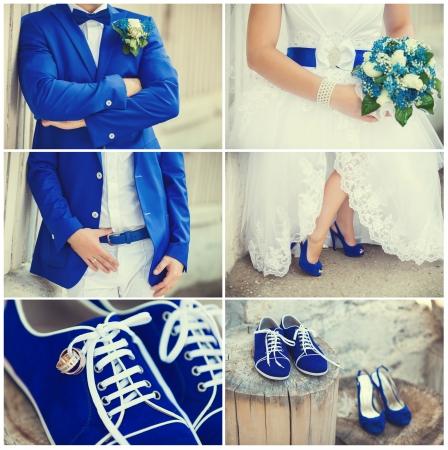 ramos de flores: Collage del tema de la boda con tema hermoso azul