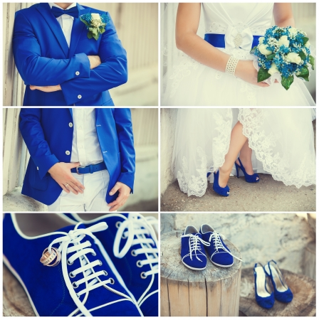 wedding theme collage with beautiful blue theme photo