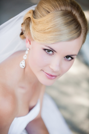 bridal veil: Beautiful bride outdoors - soft focus