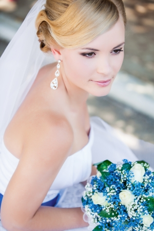 Beautiful bride outdoors - soft focus photo