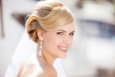 beautiful bride: Beautiful bride outdoors - soft focus