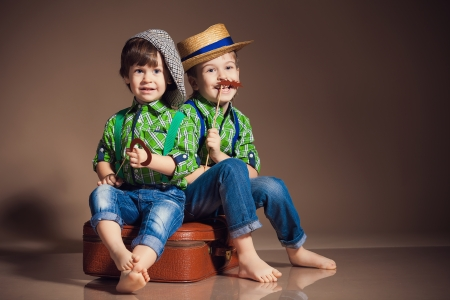 Two little cute boy brothers photo