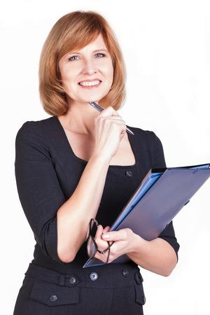 Portrait des durchdachten Geschäftsfrau Schriftsteller Tagträumen. Isoliert auf weißem Hintergrund. Standard-Bild - 25447096