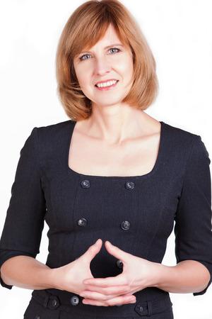 Porträt einer reifen Geschäftsfrau lächelnd in die Kamera auf einem weißen Hintergrund Standard-Bild - 25446761
