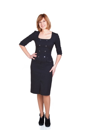Portrait of a mature businesswoman smiling at the camera isolated on a white background Imagens