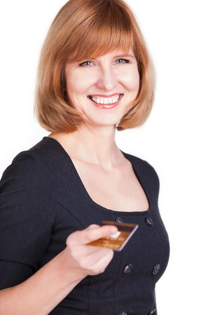businesswoman holding credit card photo