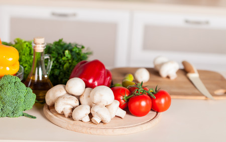healthy foods: healthy foods are on the table in home kitchen