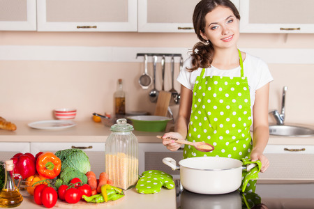 stock photo young woman cooking in the kitchen healthy food dieting concept healthy lifestyle cooking at home prepare food - Cooking In The Kitchen