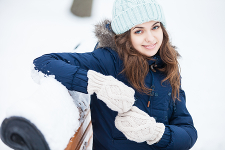 winter park: Attractive young woman in winter park