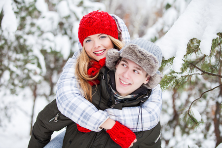 couple winter: Winter beautiful couple. Family Outdoors
