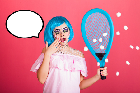 Comic surprised woman with speech bubble. In hand tennis racket. Creative beauty style.