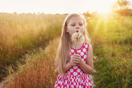 Little girl with dandelion on a meadow in the sunset.