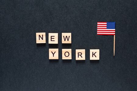 new york inscription on a black background with the American flag. Blackout tuesday. Black lives matter, blackout tuesday 2020 concept. unrest. rallies. brigandage. marauders. looting. USA