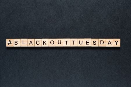 Blackout tuesday inscription on a black background. Black lives matter, blackout tuesday 2020 concept. unrest. rallies. brigandage. looting. marauders.