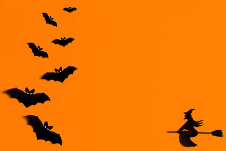 Silhouettes of a flock of bats and a witch flying on a broom made of black paper on an orange background. Halloween greeting template with copy space. Flat lay for your design. ready-made template