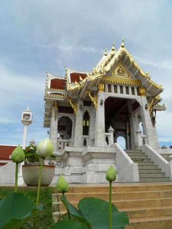 Thai temple and White lotus flower Stock Photo - 17309603