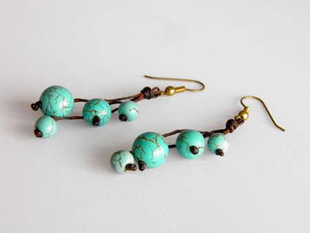 Turquoise earrings  Stock Photo