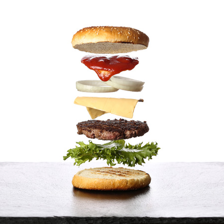 weightlessness: Burger in layers Stock Photo