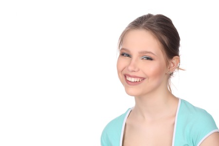 collarbone: Smiling lady in blue T-shirt Stock Photo