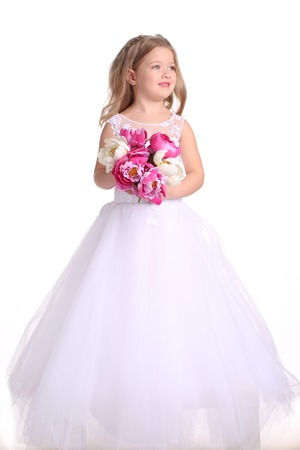 Kid in wedding dress with flowers, little bride, happy childhood, little girl, happy family, baby in wedding dress, blonde girl, isolated, baby in studio, white background