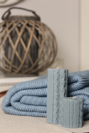 blue candles: Knitted blue blanket and candles, lazy winter weekend, knitted blue candles, knitted wood lamp, spa and wellness, home and comfort