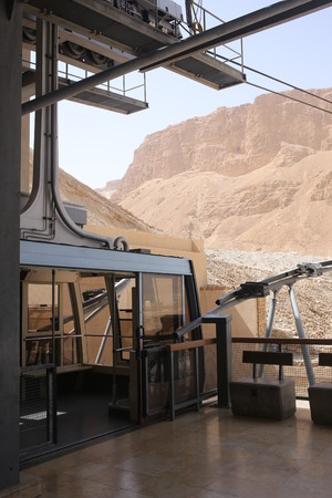 judah: Cable car in Masada, Israel landscape, holy land, nature of Israel, dangerous mountains, hills and canyons, tourism in Israel