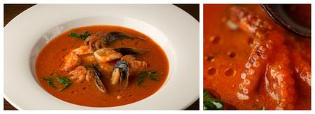 Seafood soup. Close up