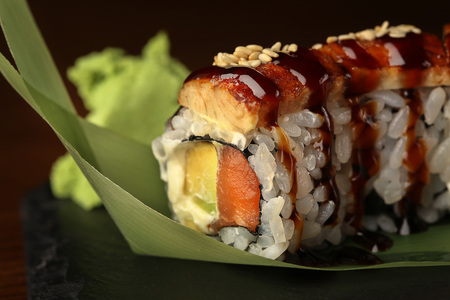 Sushi on black background. Close up Stock Photo