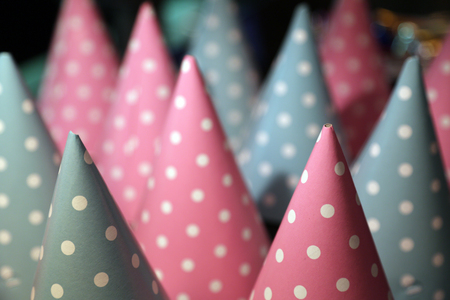 Party hats with patterns. Close up Stock Photo