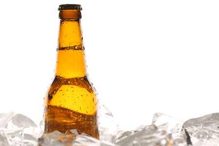 Bottle of cider in ice cubes. Close up. White background