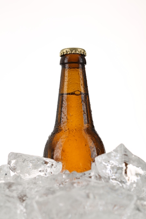 Beer. Close up. White background