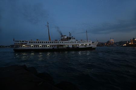 White ship in Istanbul Stock Photo