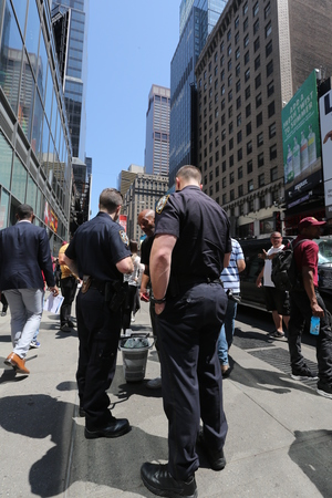Policemen on the street. America, New York City - May 6, 2017
