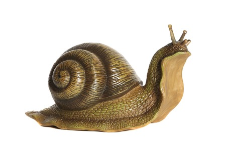 Snail statuette. White background