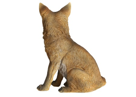 Fox ceramic statuette. White background