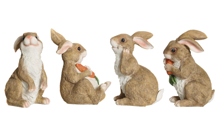 Ceramic statuettes of hare. White background