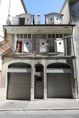 Old living house facade. Geneva, Switzerland Banco de Imagens