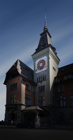 Town hall of Genevas Eaux-Vives quarter with its clock tower