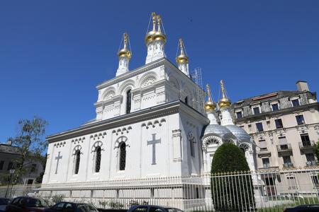 White orthodox church in Geneva Banco de Imagens