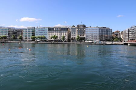 City view of waterside, Geneva Redactioneel
