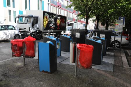 Different trash bins in the European city of Geneva