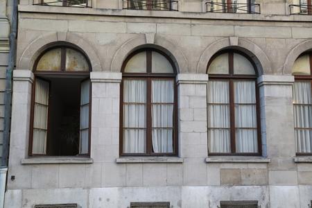 Facade of the old house. The building in Geneva. Banco de Imagens