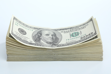Dollar banknotes on white background. National American currency Banco de Imagens