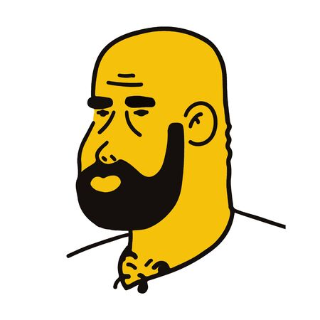 male head with beard. Vector flat yellow and black illustration isolated on white background.