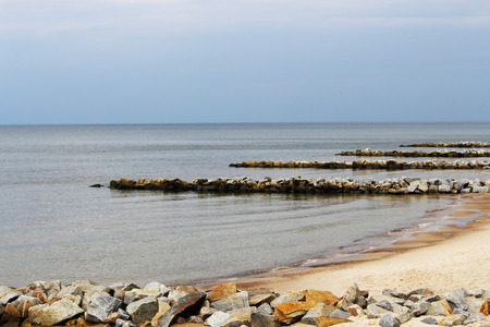 breakwaters: breakwaters on the beach Stock Photo