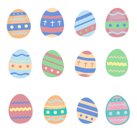 Colorful decorated Easter eggs made in vector. Illustration in pastel colors. Cute festive background template